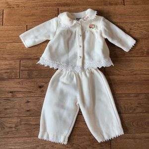 Y.K.I. Fleece Baby Girl Outfit Lace & Pearls